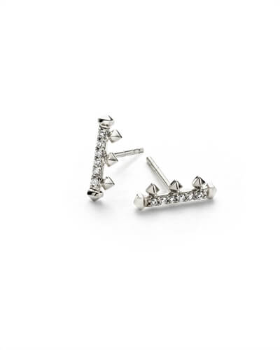 Dorothy Stud Earrings in White Diamond and 14k White Gold