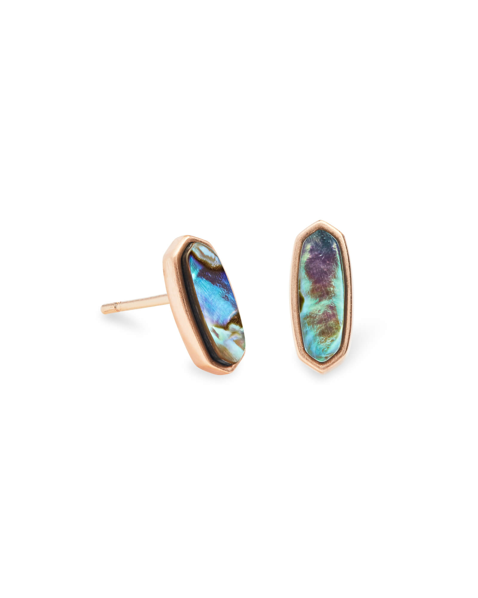 Mae Rose Gold Stud Earrings in Abalone Shell