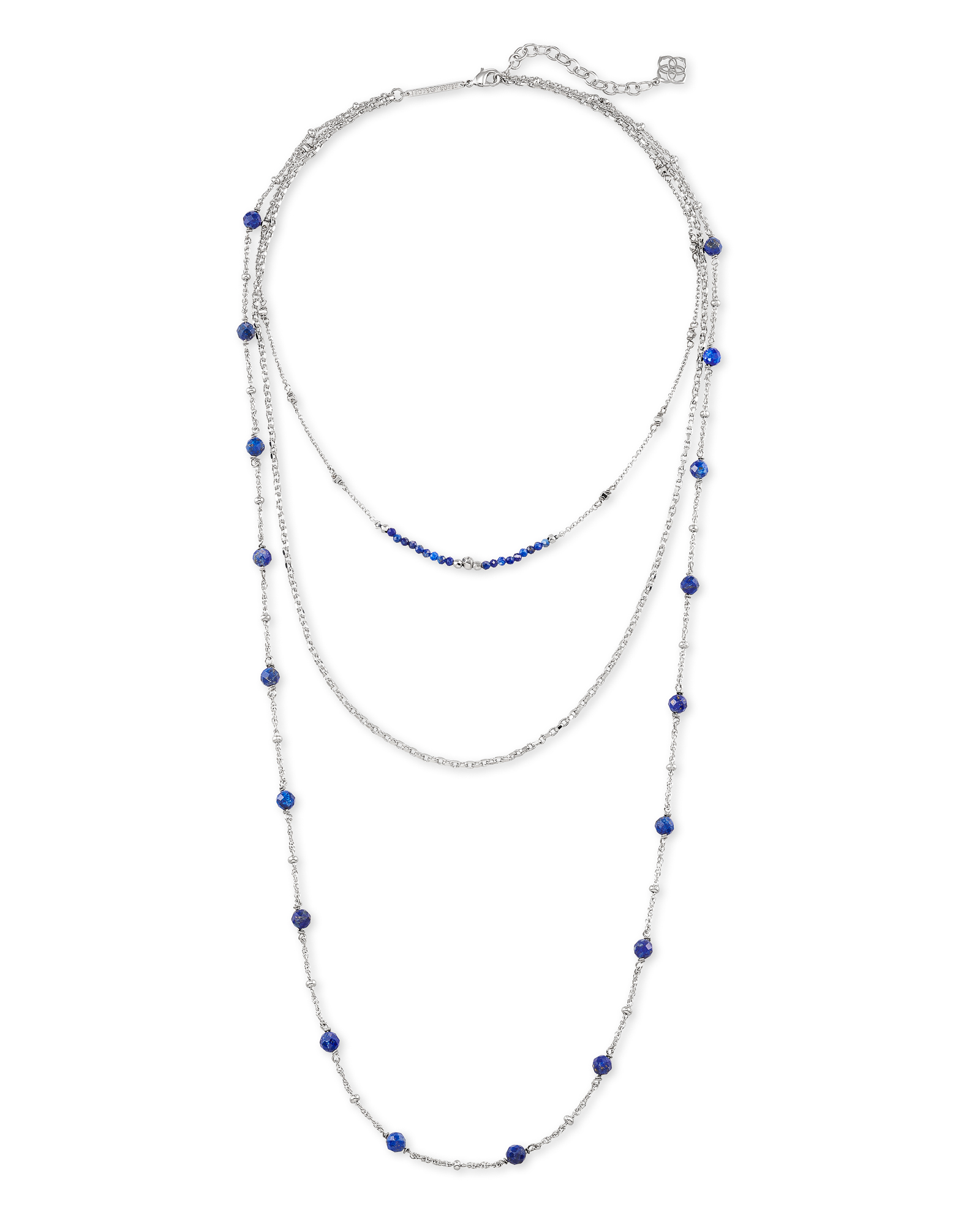 Scarlet Silver Multi Strand Necklace in Blue Lapis