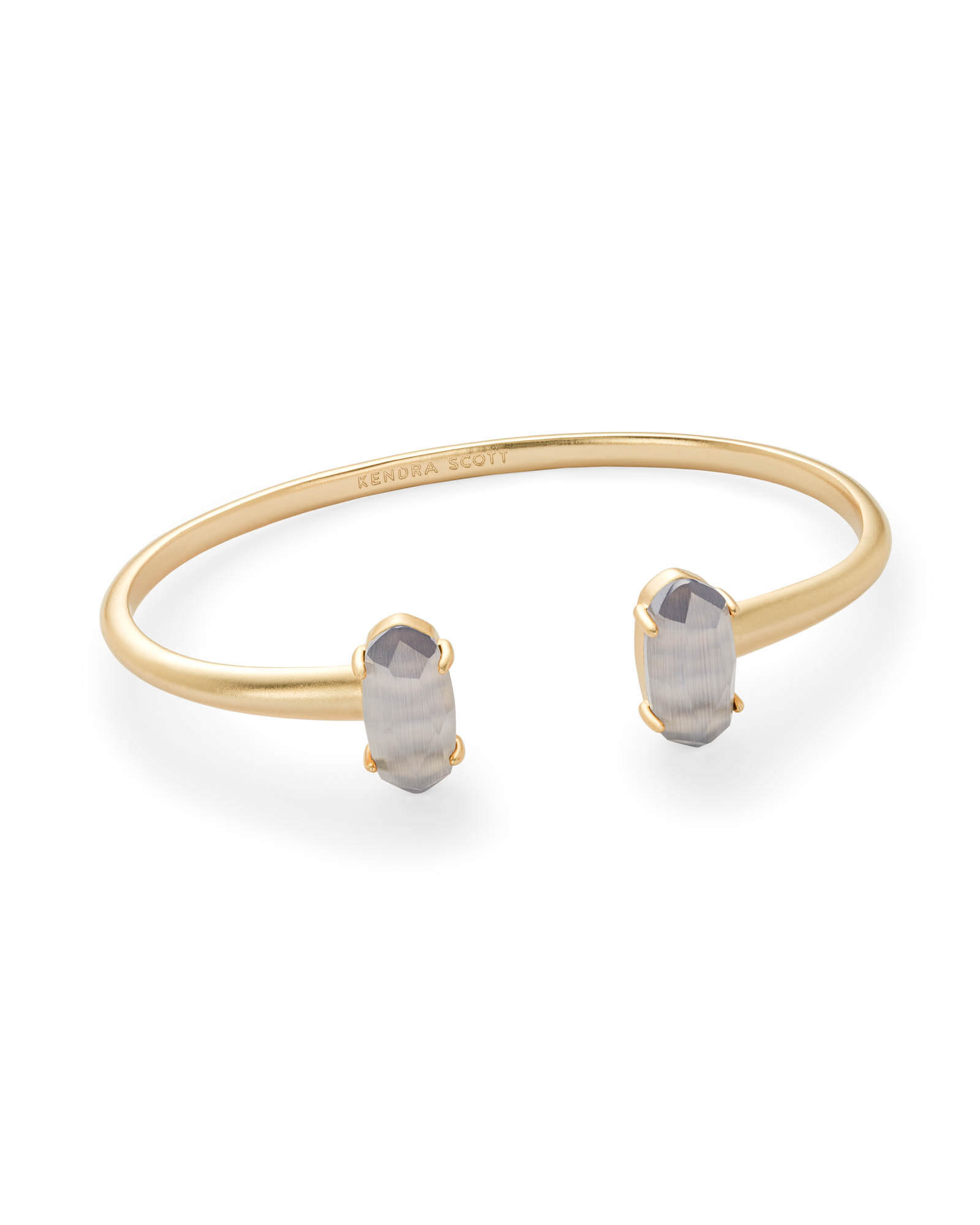 Edie Gold Cuff Bracelet in Slate Cats Eye