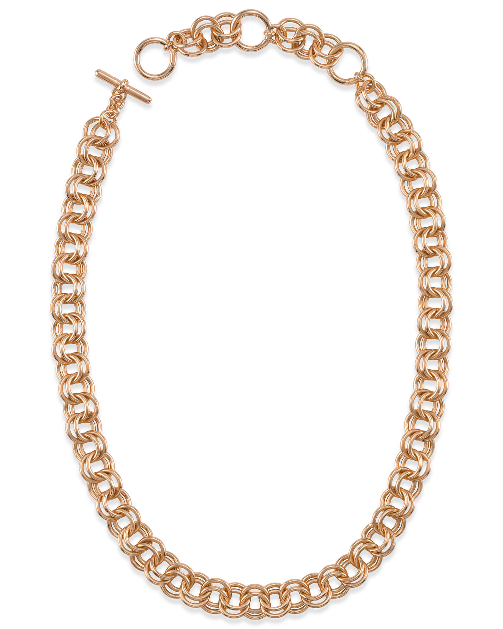 18 Inch Double Chain Link Necklace in Rose Gold