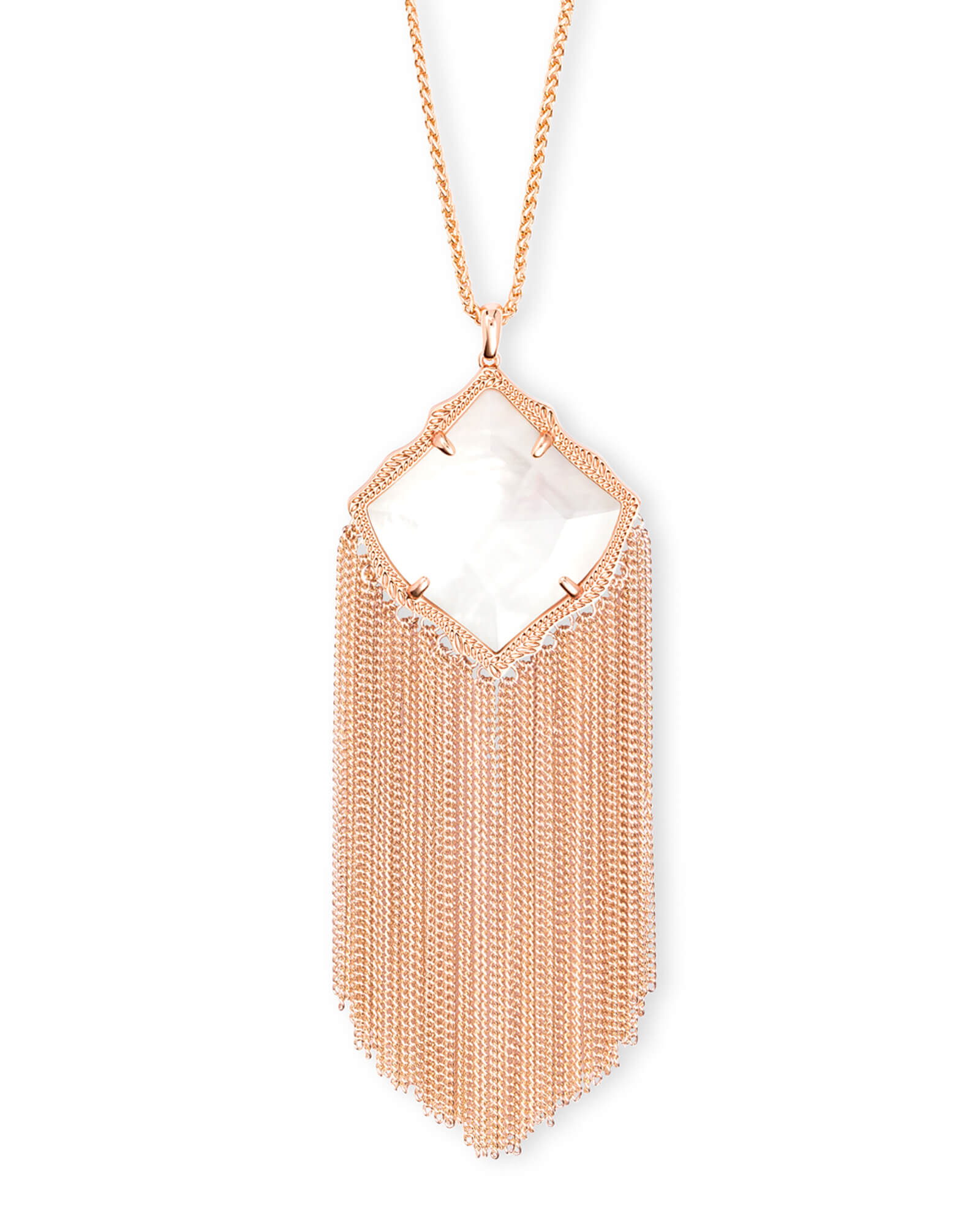 Kingston Rose Gold Long Pendant Necklace in Ivory Pearl