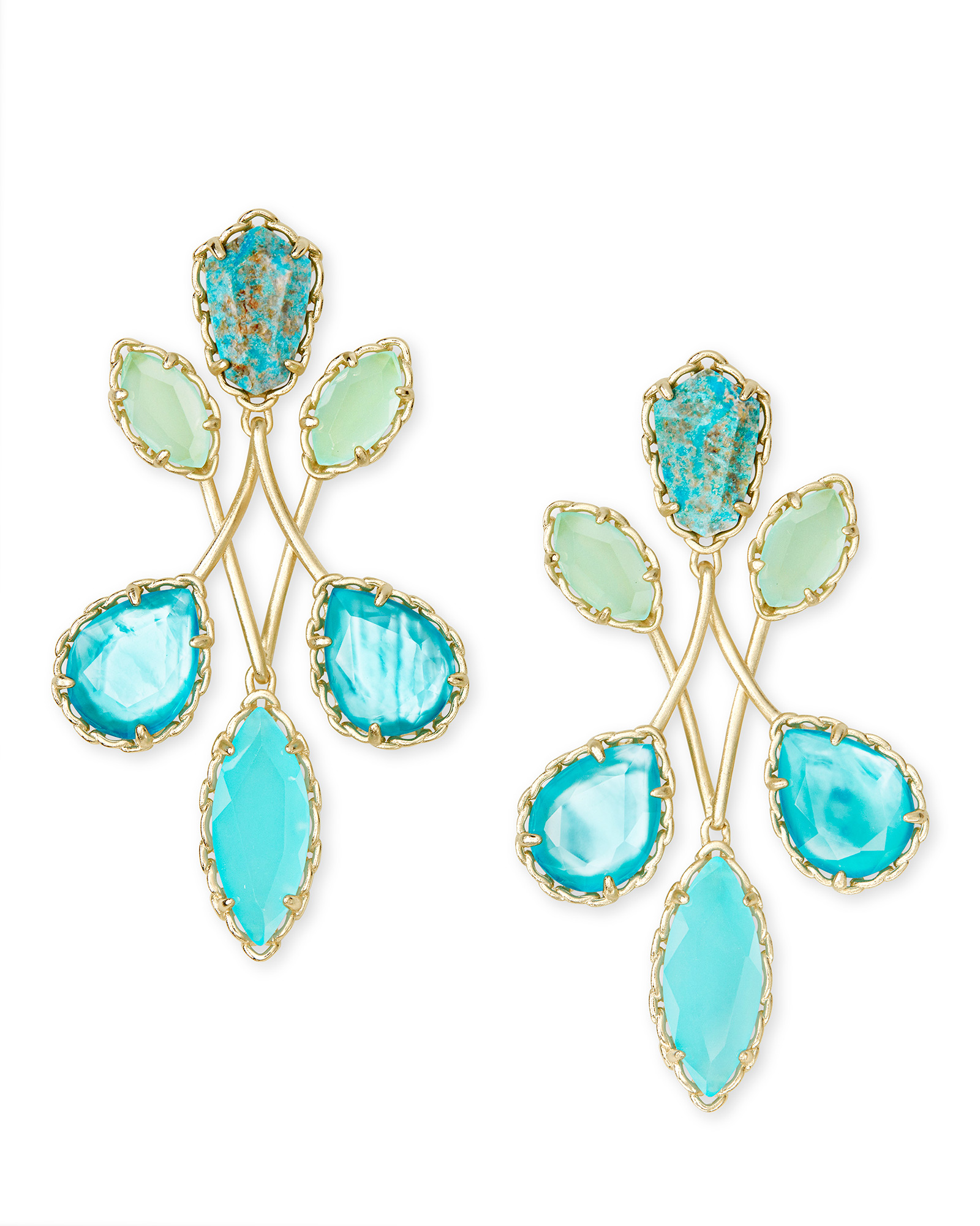 Gwenyth Gold Statement Earrings In Blue Mix