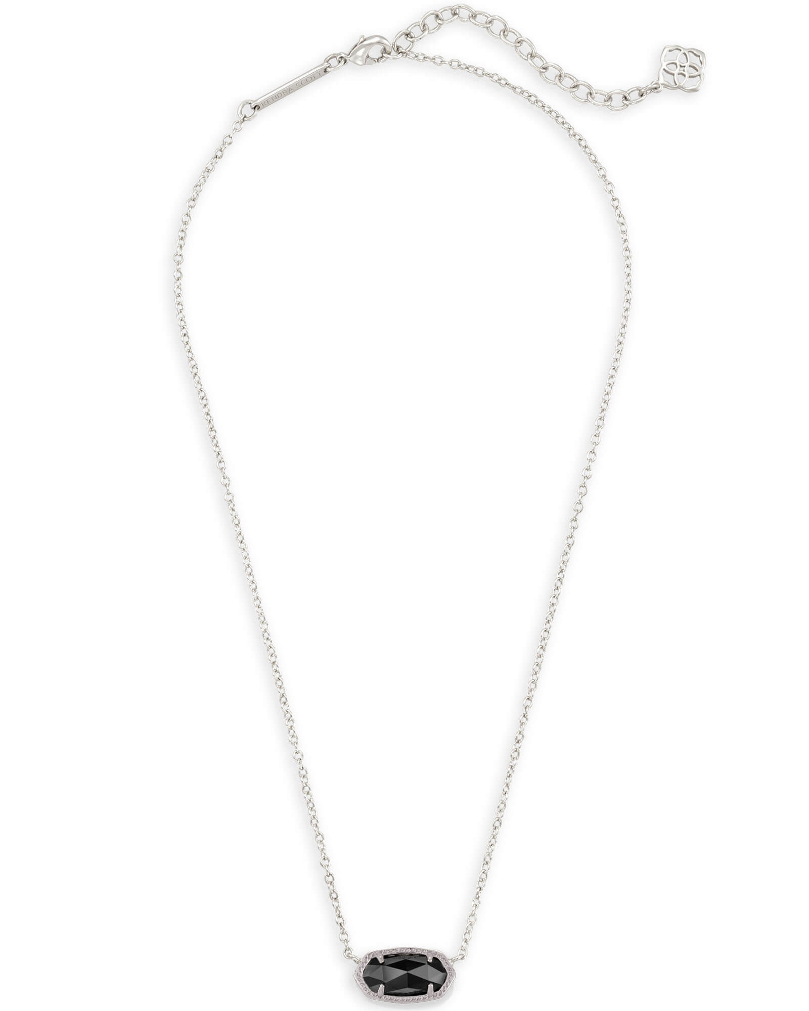 Elisa Silver Pendant Necklace in Black Opaque Glass