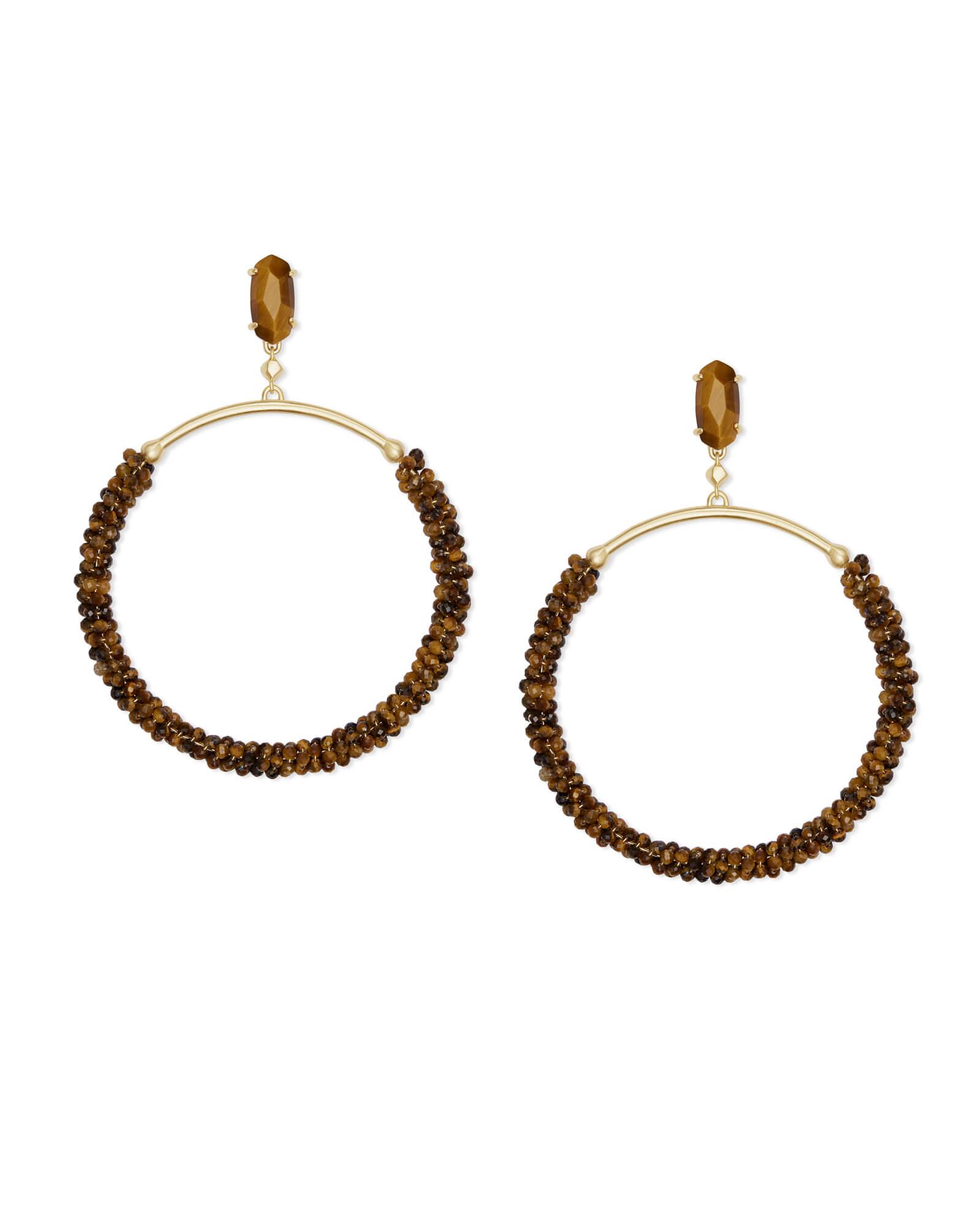 Russel Gold Hoop Earrings In Brown Tigers Eye