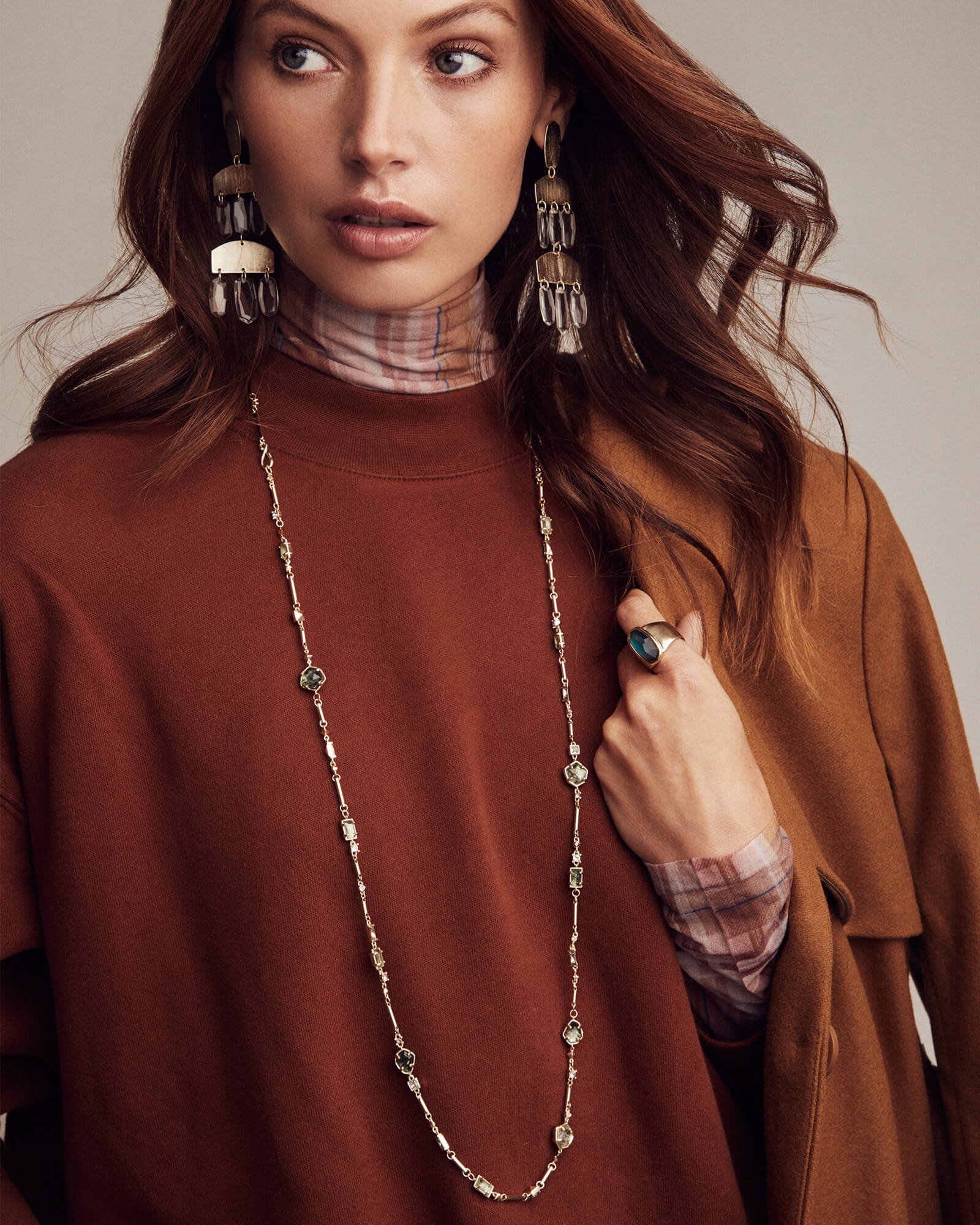 Yazmin Rose Gold Long Necklace in Sable Mica