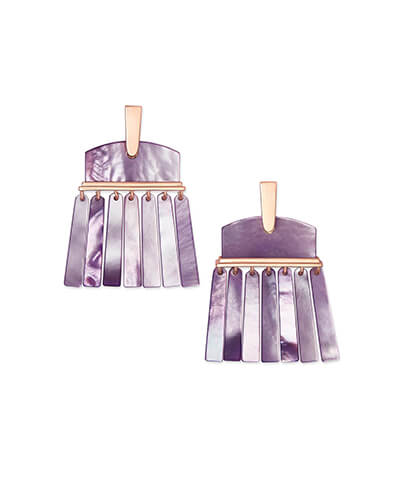 Layne Rose Gold Statement Earrings in Lilac Pearl