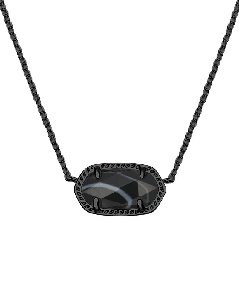 Elisa Pendant Necklace in Black Banded Agate
