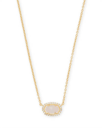 Chelsea Gold Pendant Necklace in Rose Quartz