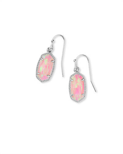 Lee Silver Earrings in Light Pink Opal