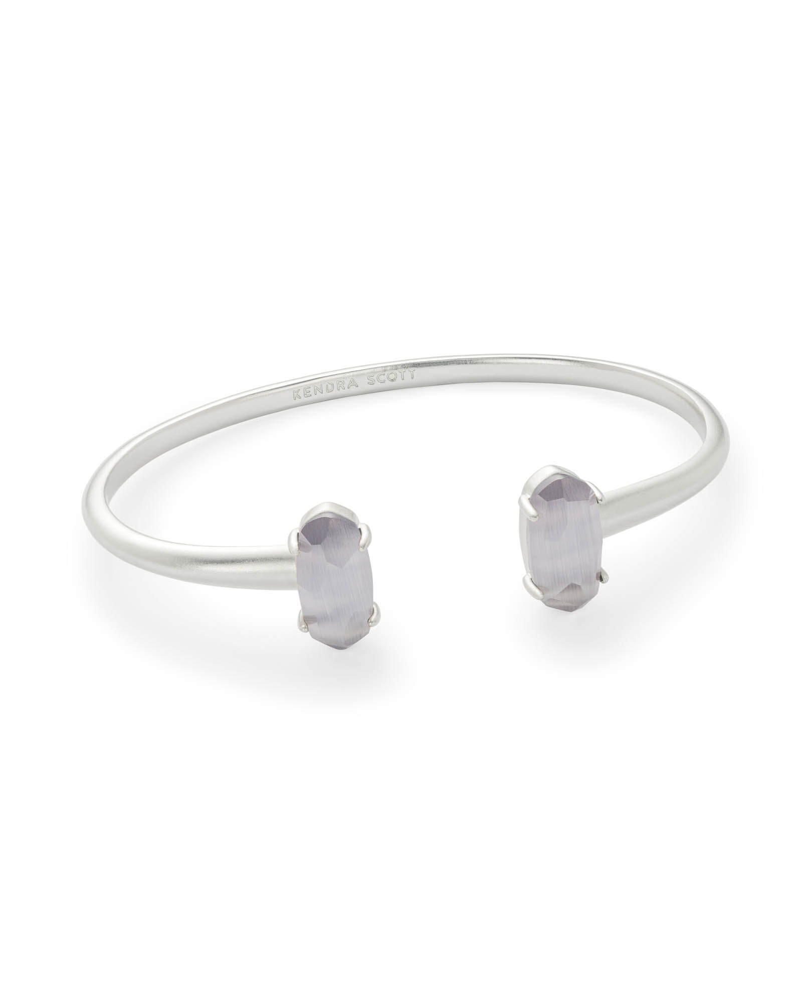 Edie Silver Cuff Bracelet in Slate Cats Eye