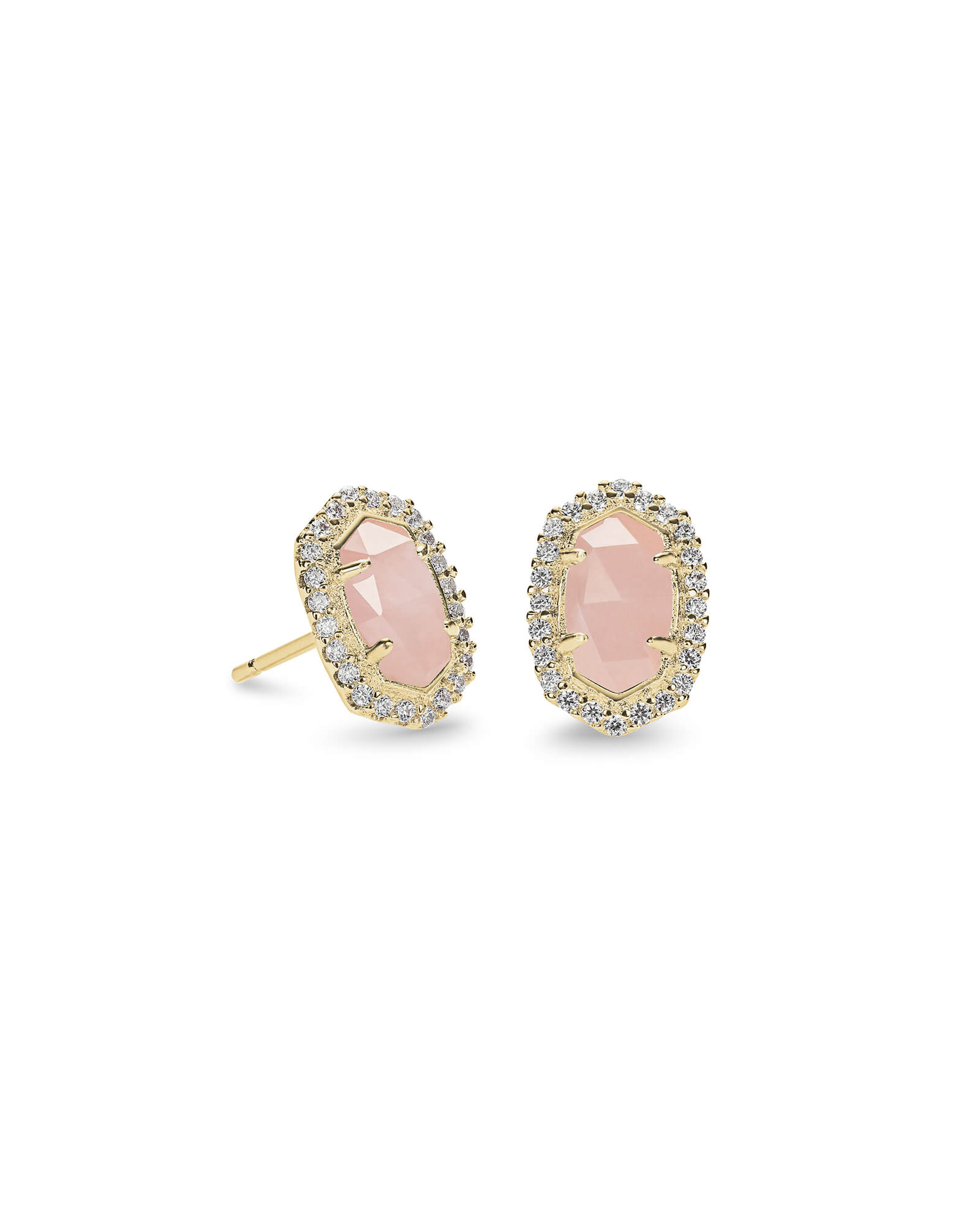 Cade Gold Stud Earrings in Rose Quartz