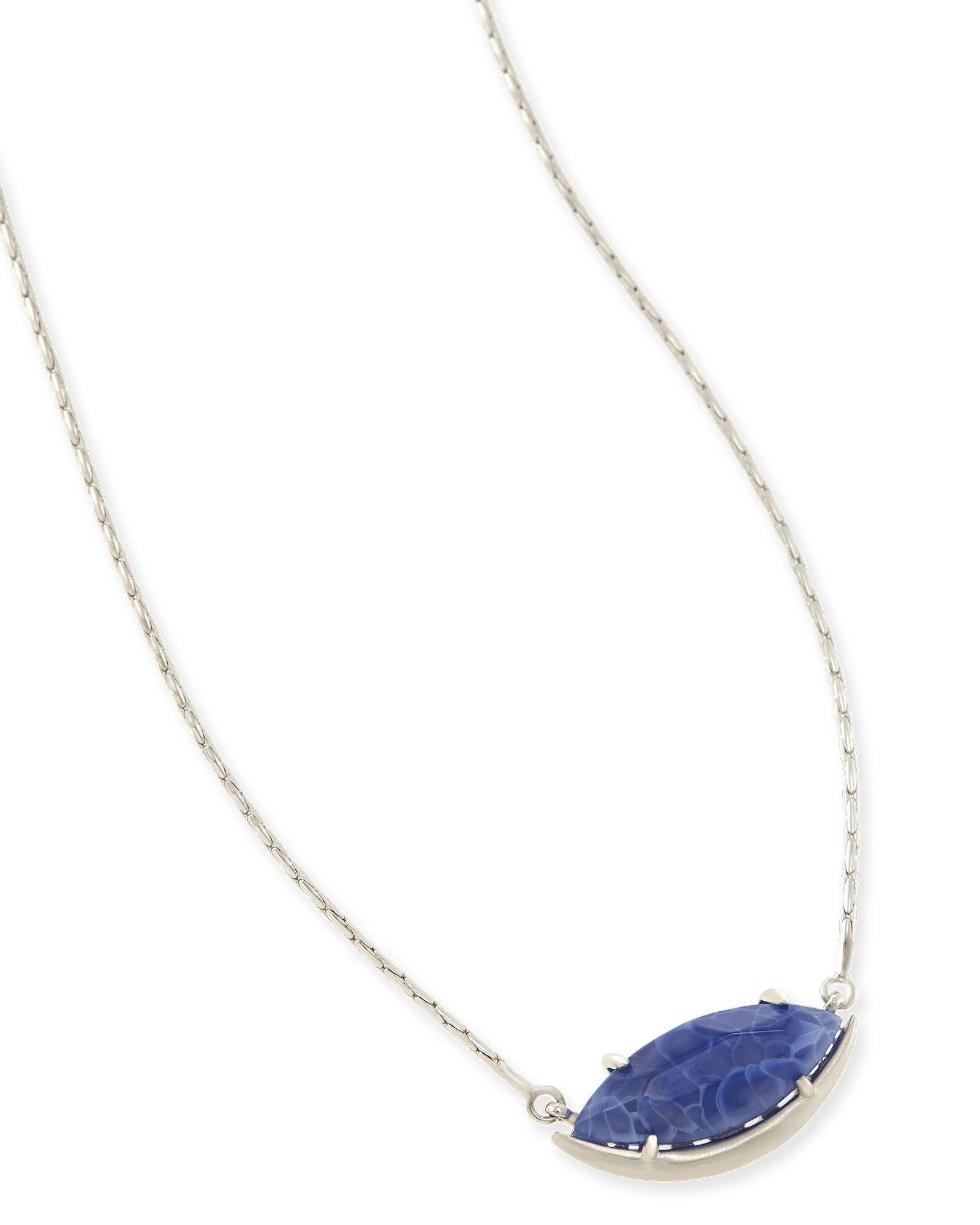 Meghan silver pendant necklace in blue agate kendra scott meghan pendant necklace in crackle blue agate aloadofball Choice Image