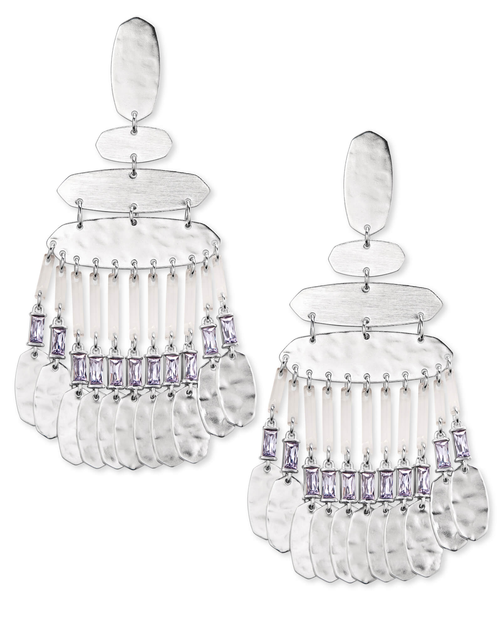 Nicola Silver Statement Earrings in Lilac Crystal