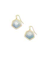 Vanessa Gold Small Drop Earrings in Steel Gray Ombre