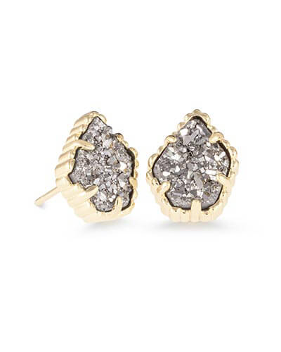 Tessa Stud Earrings in Platinum Drusy