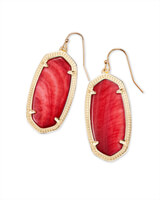 Elle Gold Drop Earrings in Red Mother of Pearl