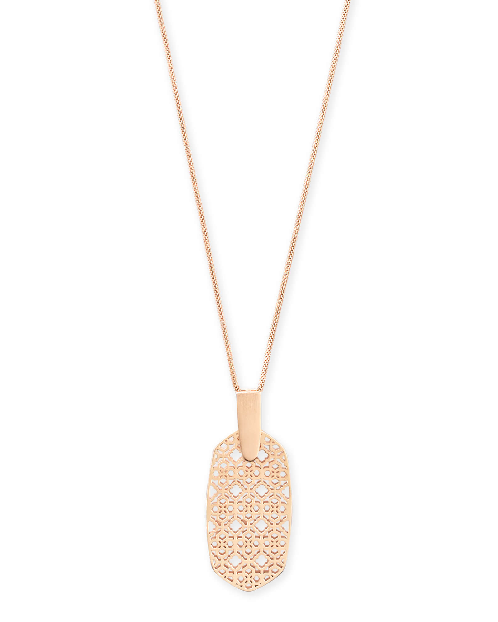 Inez Rose Gold Long Pendant Necklace in Rose Gold Filigree