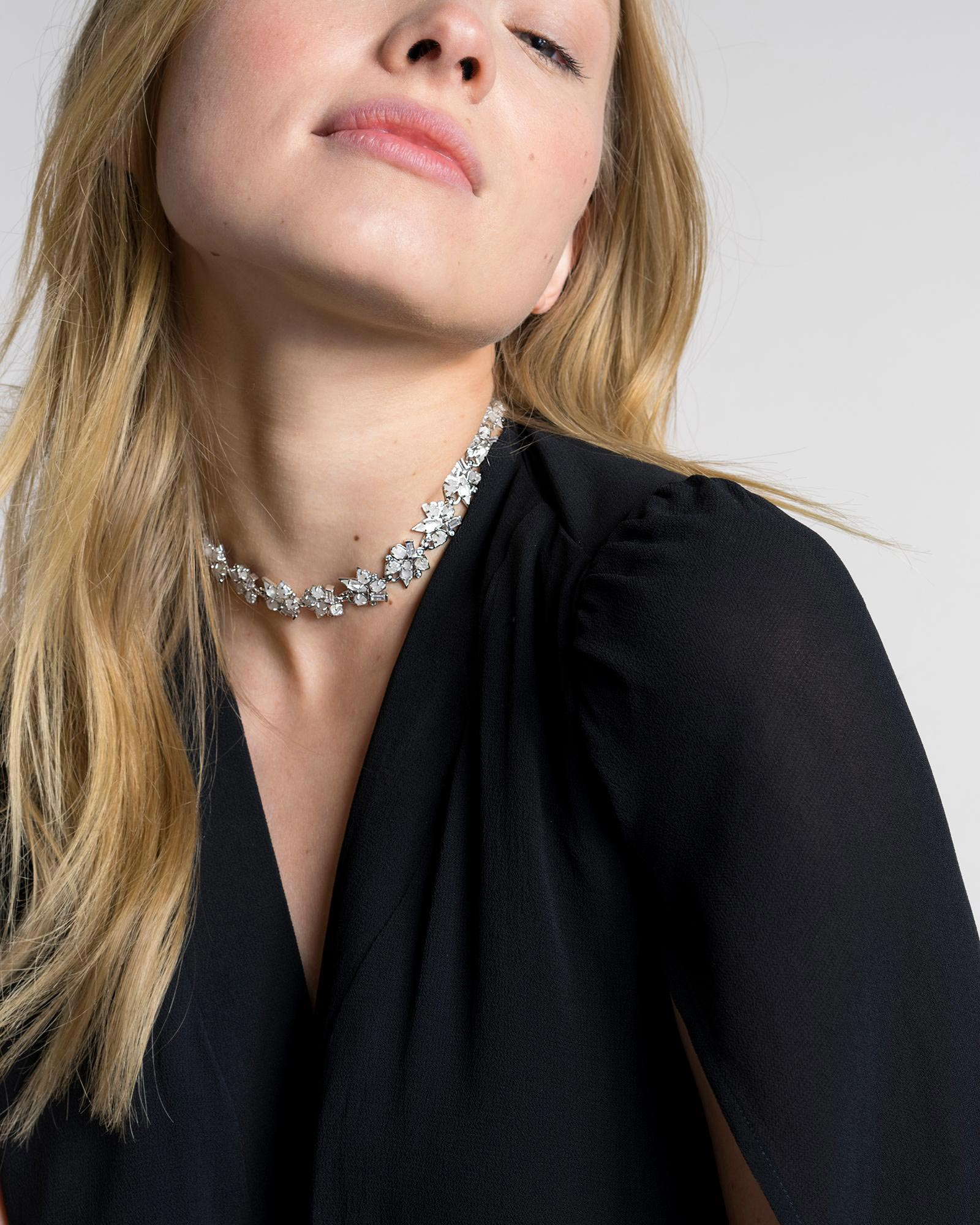 Andrina Choker Necklace in Antique Silver