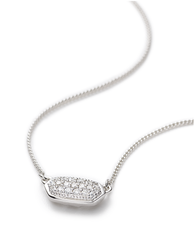 Lisa Pendant Necklace in Pave Diamond and 14k White Gold