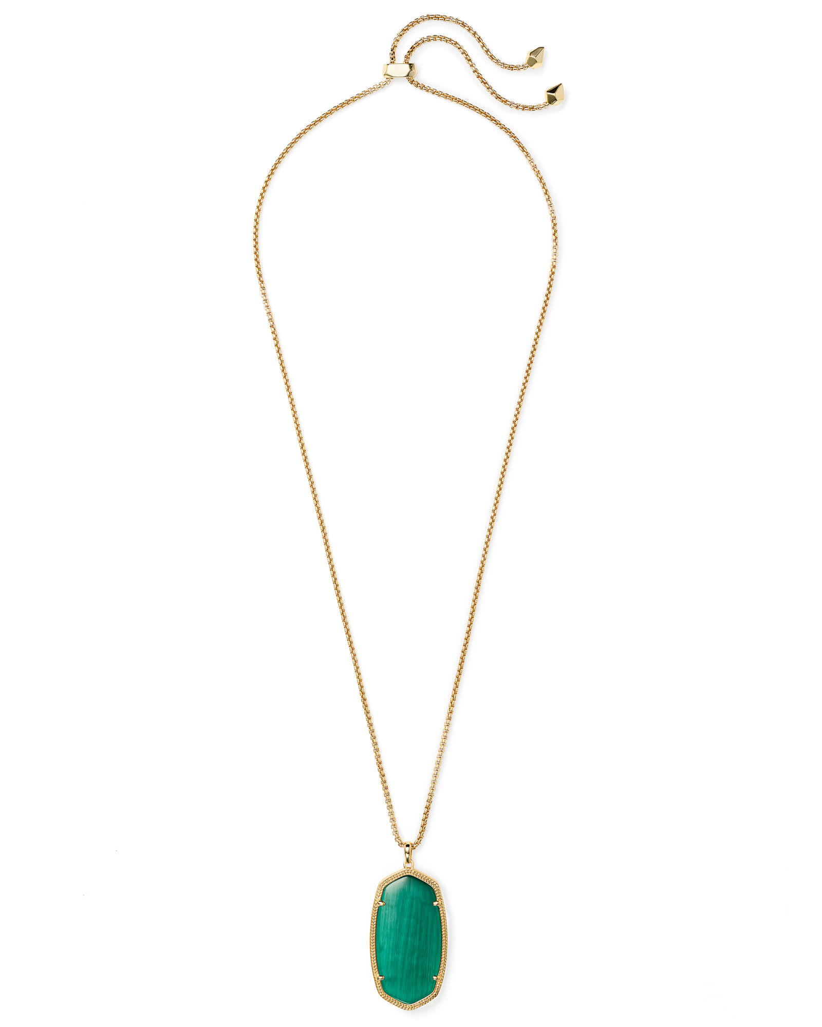 Reid Gold Long Pendant Necklace in Emerald Cats Eye