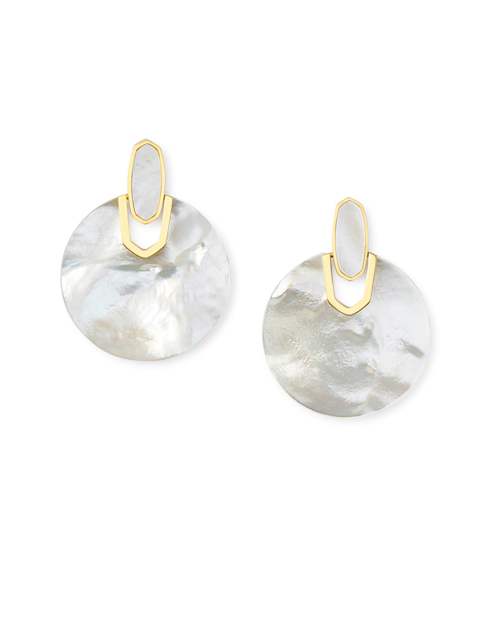 Didi Gold Statement Earrings in Ivory Pearl