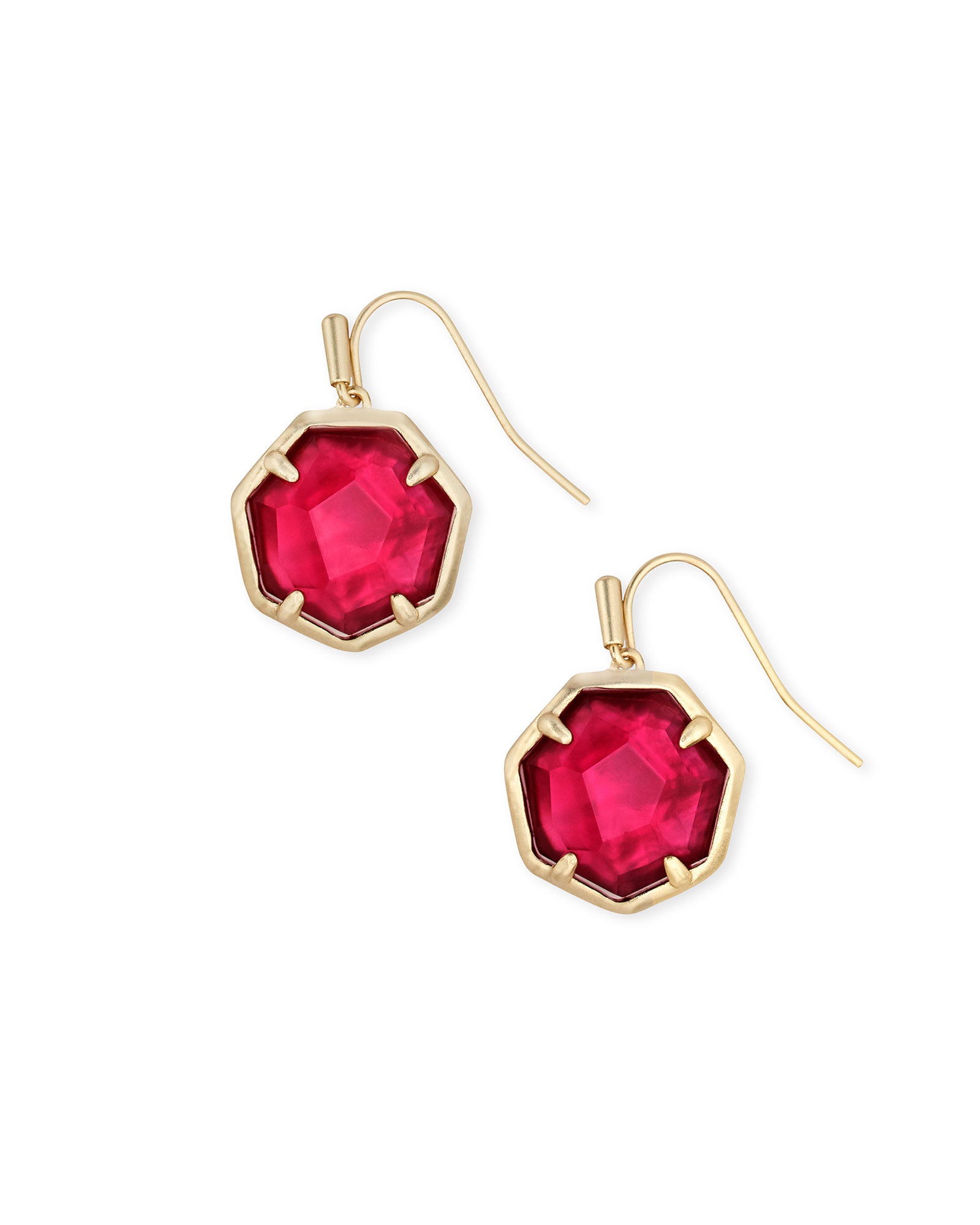 Cynthia Gold Drop Earrings in Berry Illusion