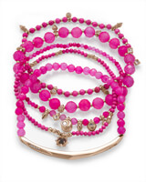 Supak Gold Beaded Bracelet Set In Pink Agate Mix