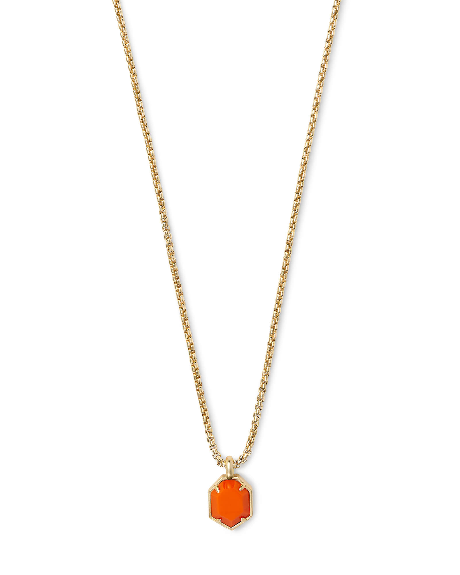 Teo Gold Pendant Necklace In Orange
