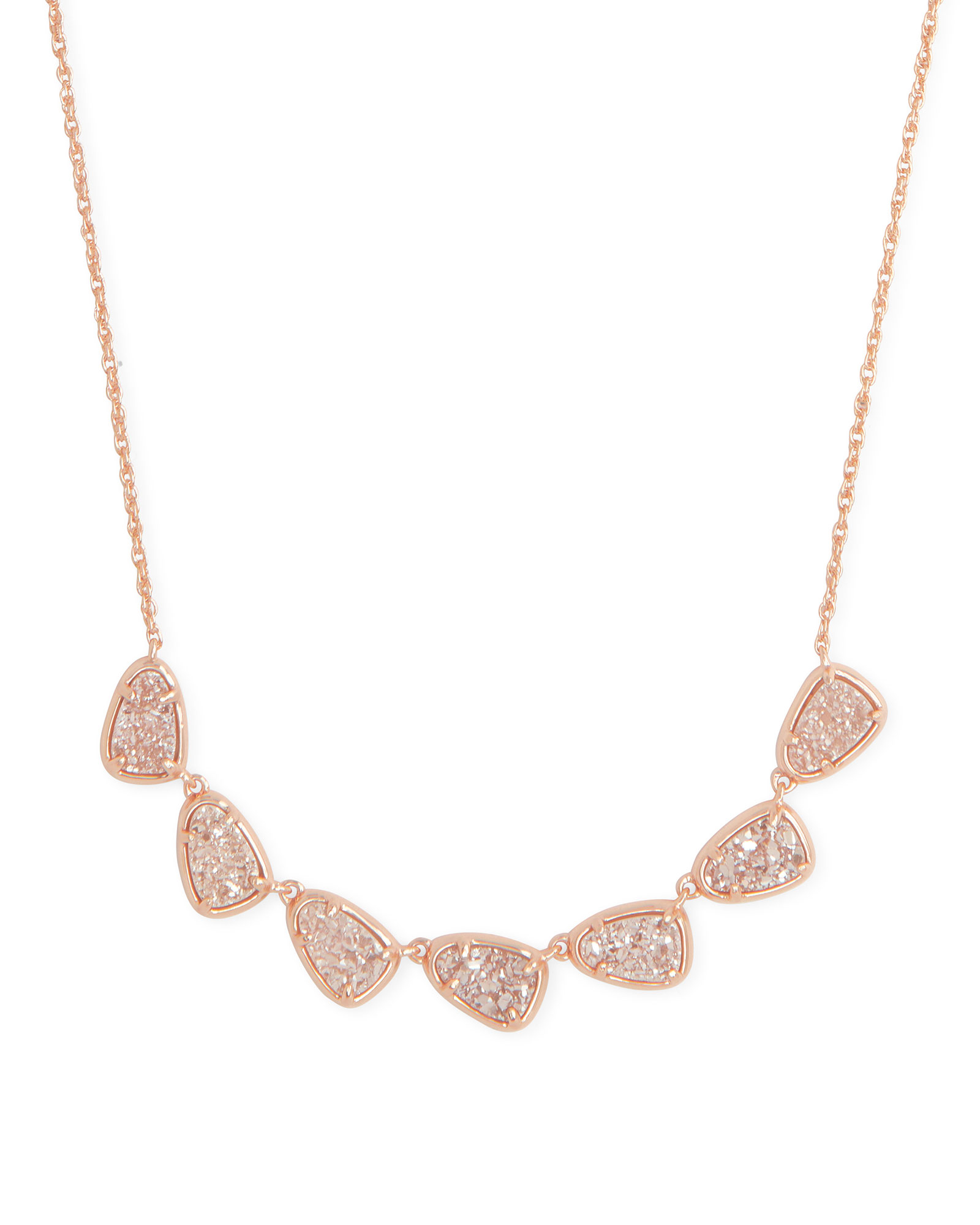Susanna Rose Gold Collar Necklace in Sand Drusy