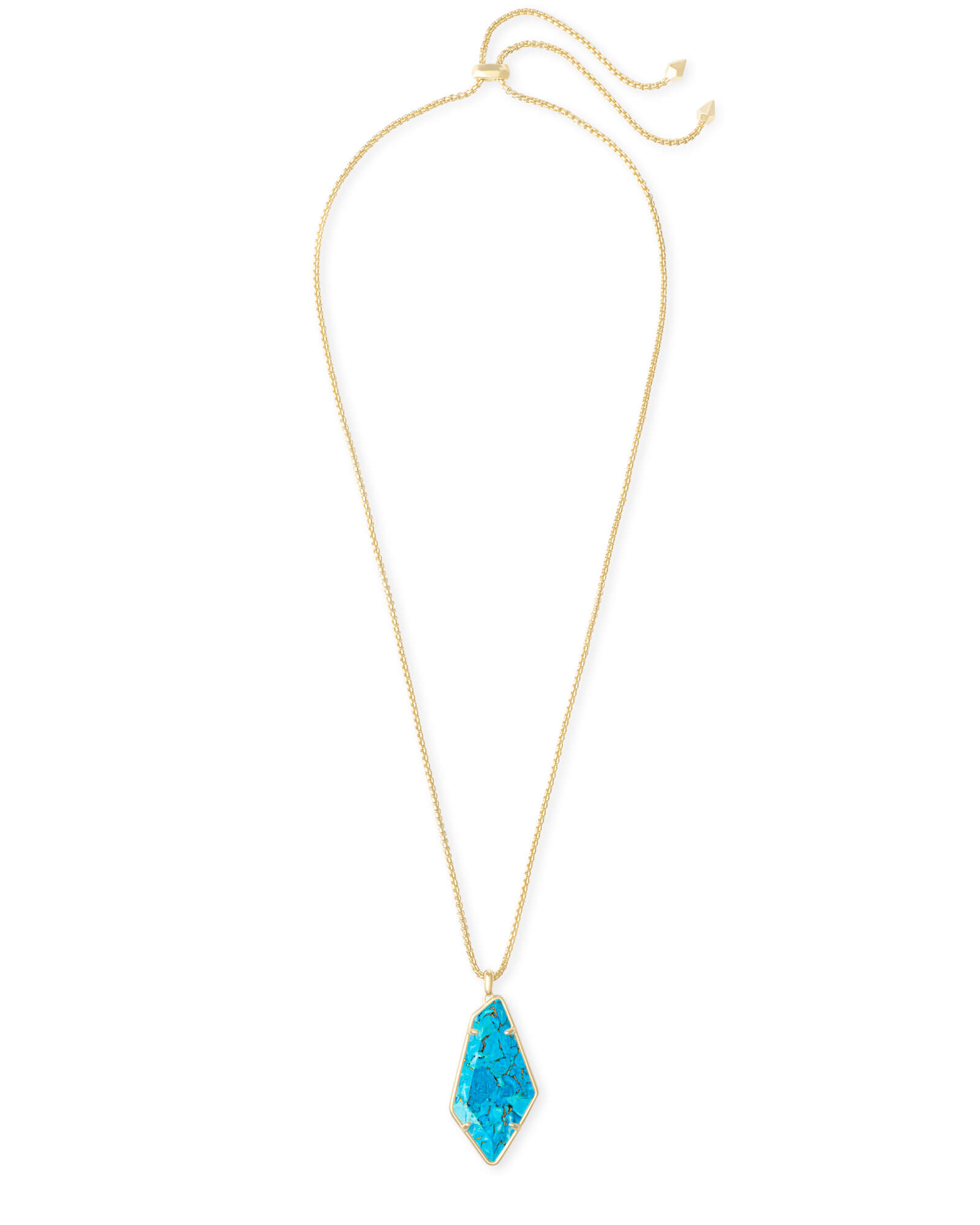 Lilith Gold Long Pendant Necklace in Bronze Veined Turquoise Magnesite