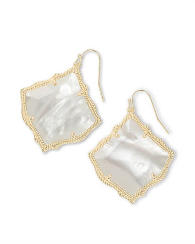 Kirsten Gold Drop Earring in Ivory Pearl