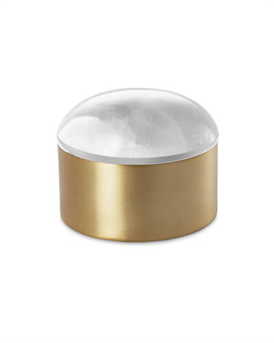 Decorative Brass Dome Box in White Onyx