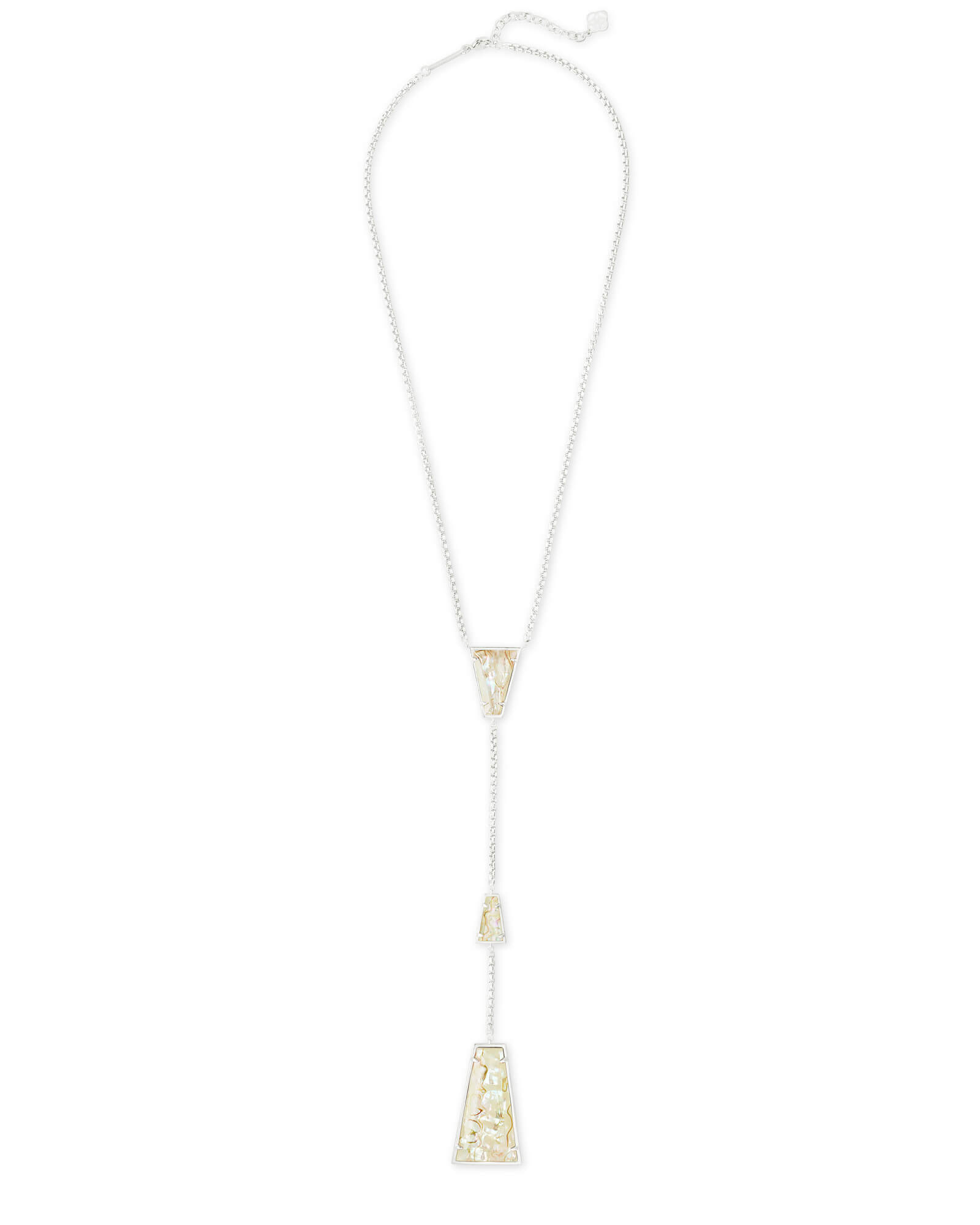Collins Bright Silver Y Necklace in White Abalone