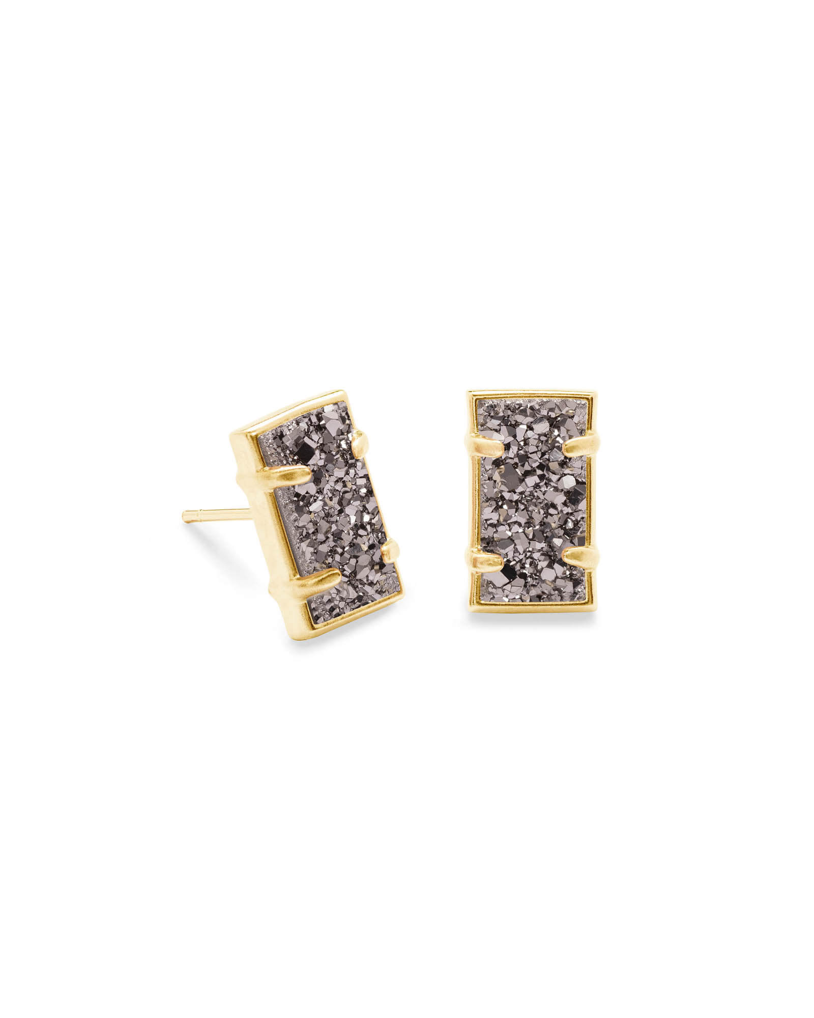 Paola Gold Stud Earrings in Platinum Drusy