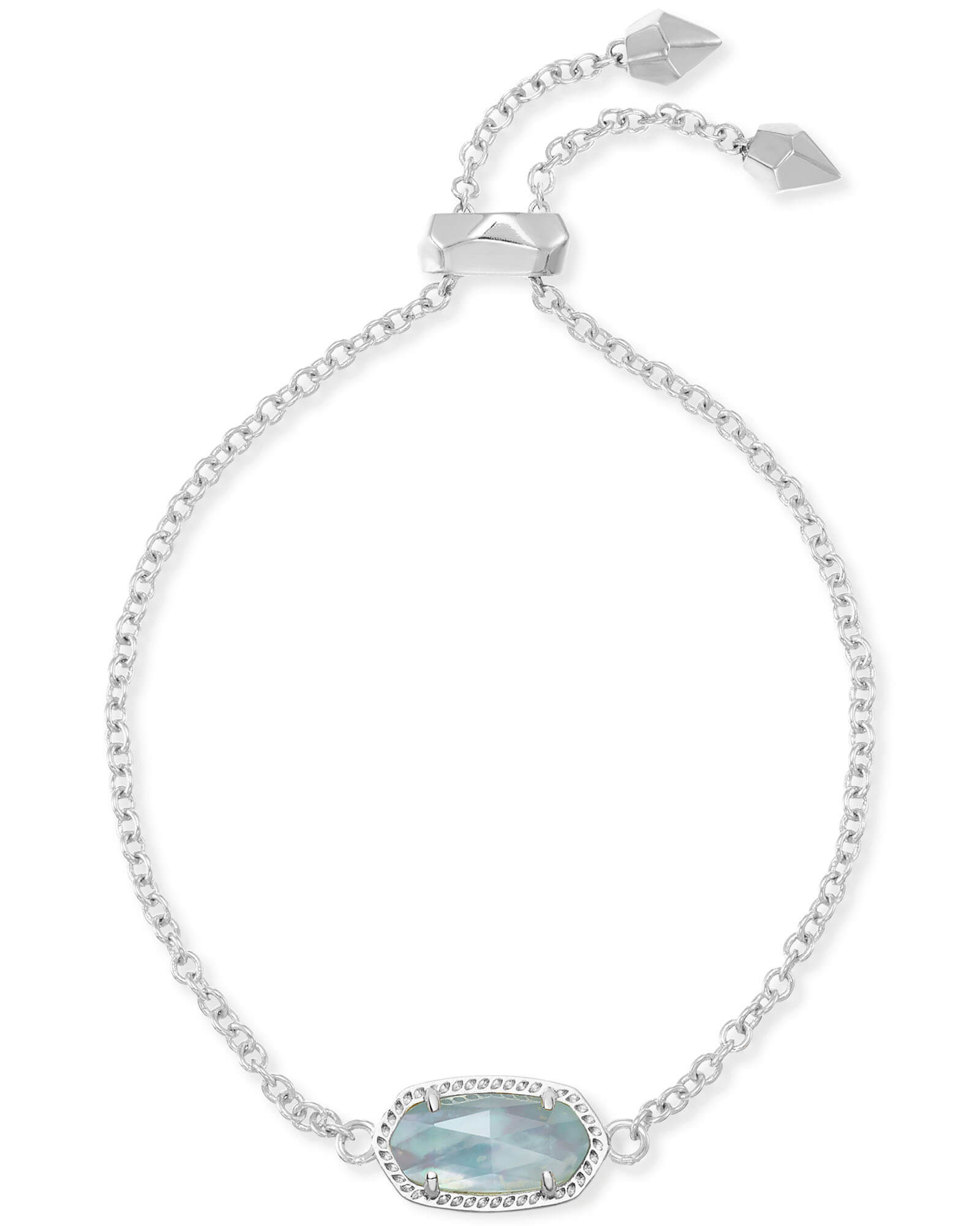 Elaina Silver Adjustable Chain Bracelet in Light Blue Illusion