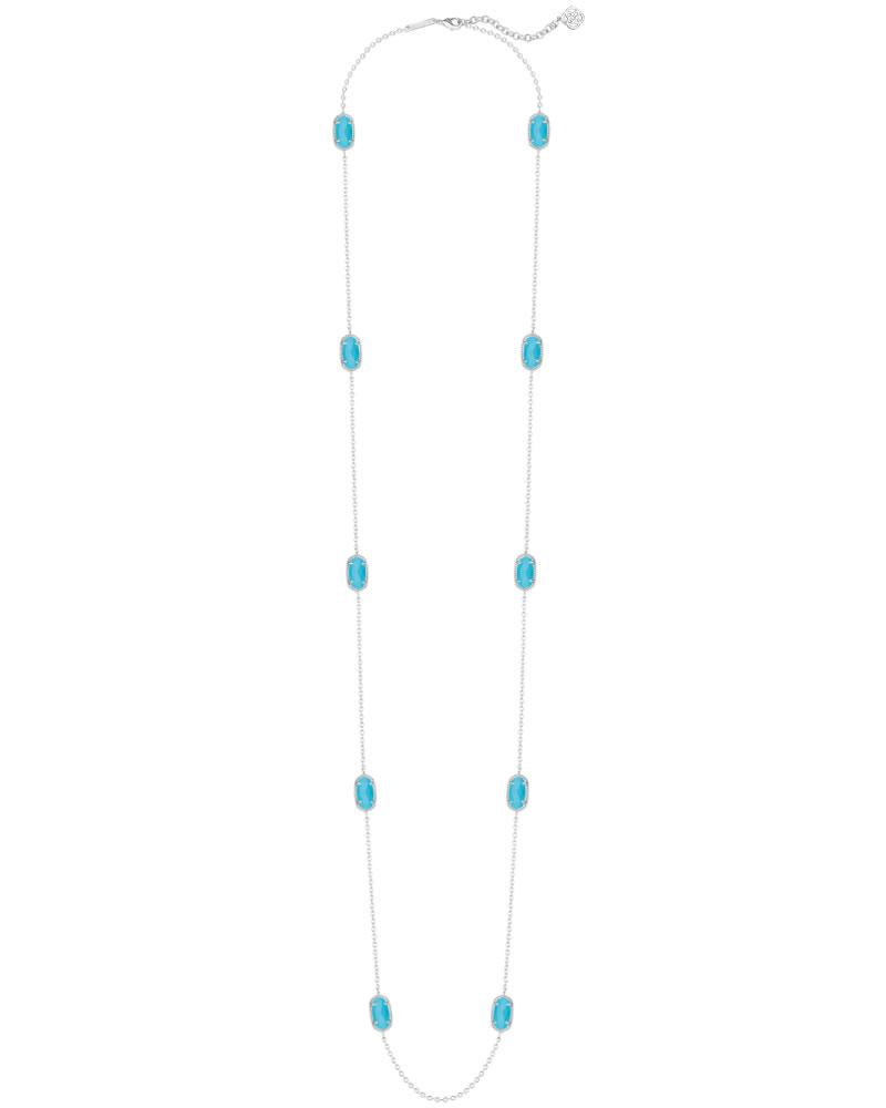 Kellie Silver Long Necklace in Turquoise