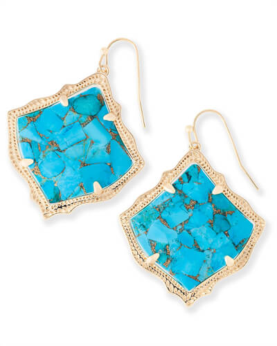 Kirsten Drop Earrings in Bronze Veined Turquoise Magnesite
