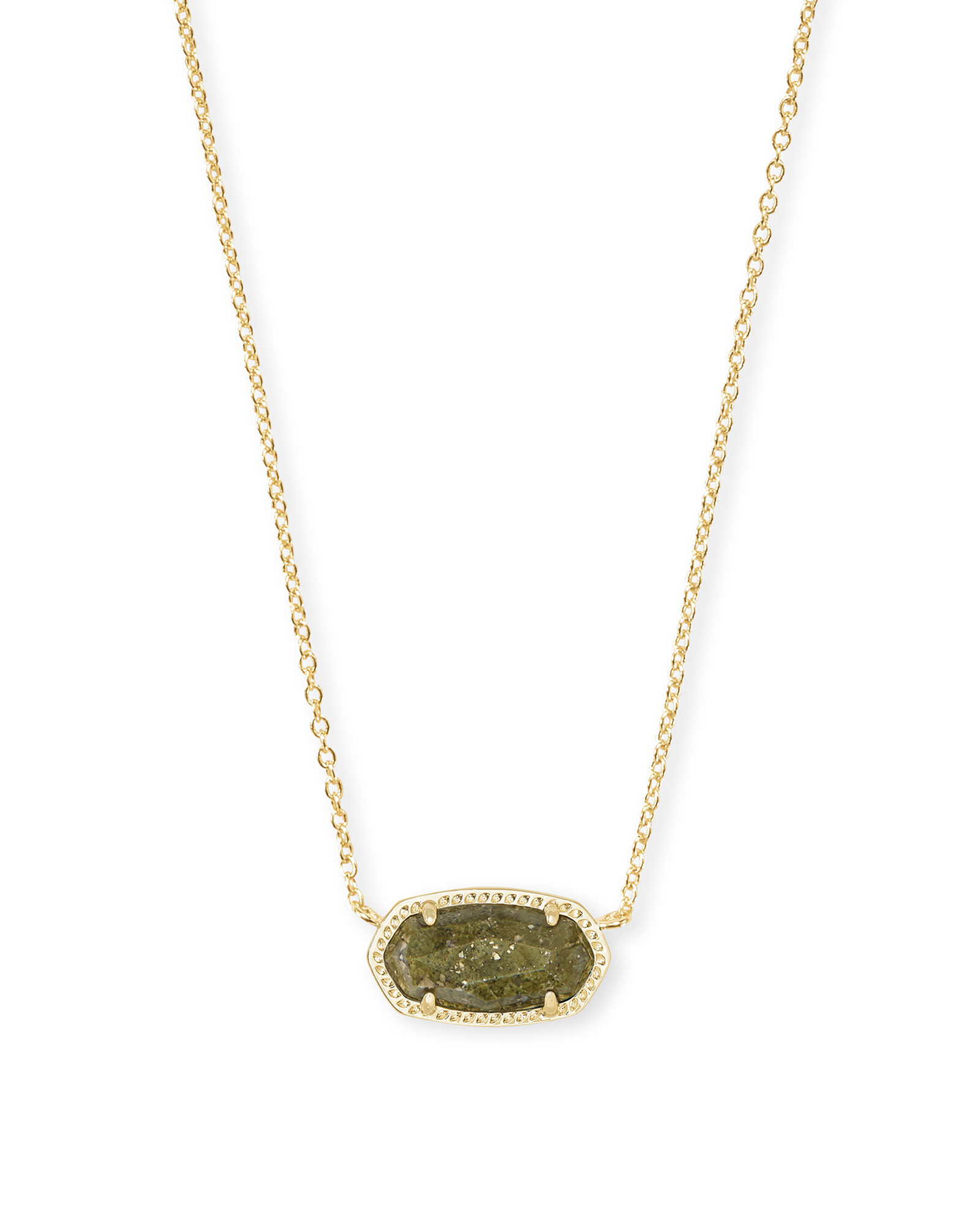 Elisa Gold Pendant Necklace in Olive Epidote