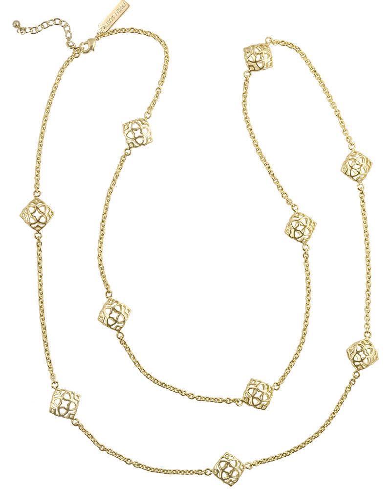 Nemera long necklace in gold kendra scott jewelry nemera long necklace in gold aloadofball Images
