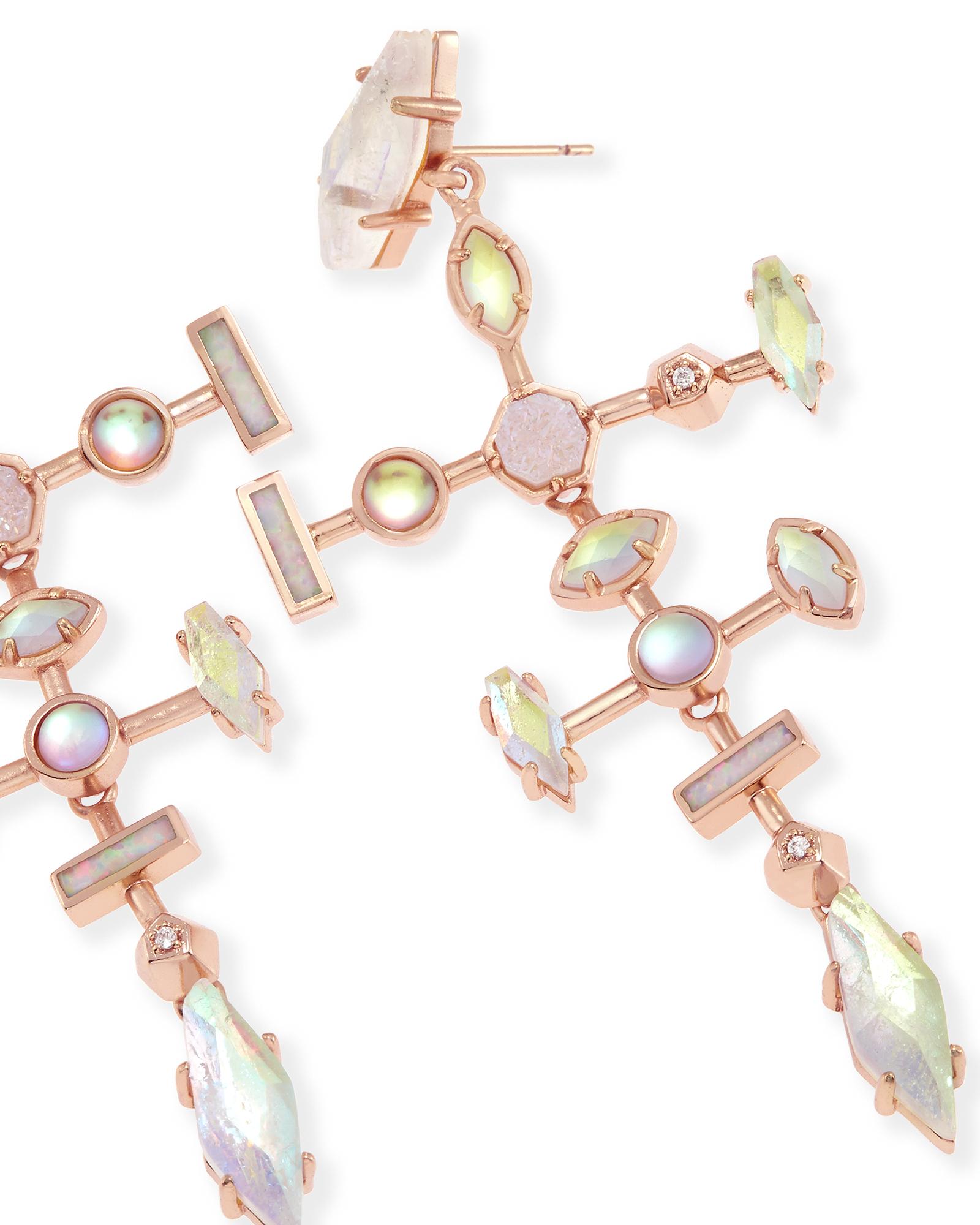 Teagan modern rose gold chandelier earrings kendra scott teagan statement earrings in radiant arubaitofo Images