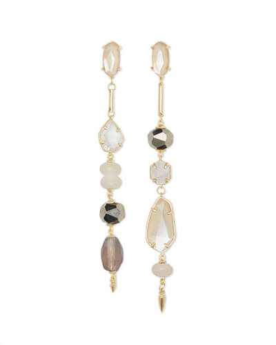 Cosette Gold Statement Earrings in Ivory Mix