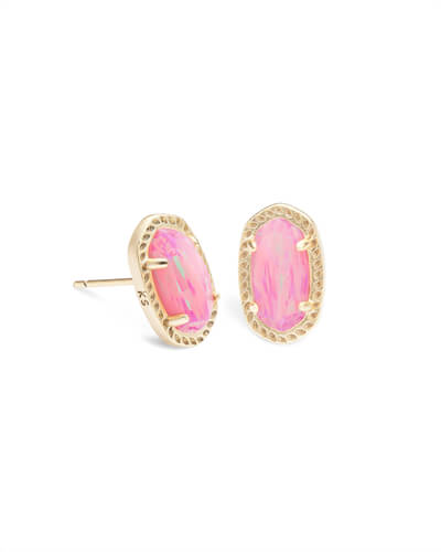 Kendra Scott Emery Gold Stud Earrings in Light Pink Opal