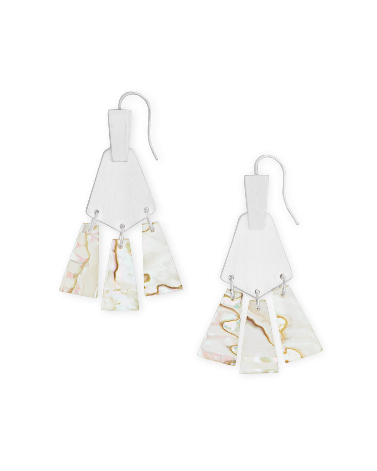 Rechelle Bright Silver Drop Earrings in White Mix