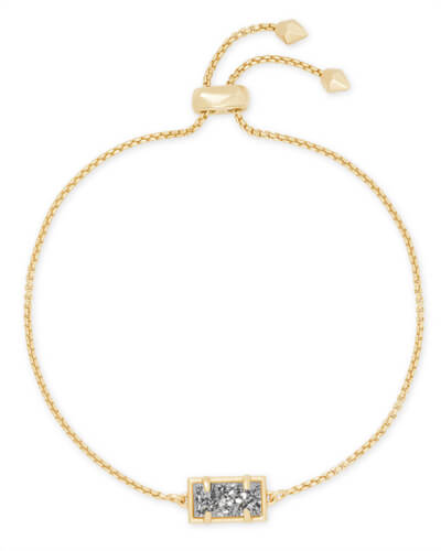 Phillipa Gold Chain Bracelet in Platinum Drusy