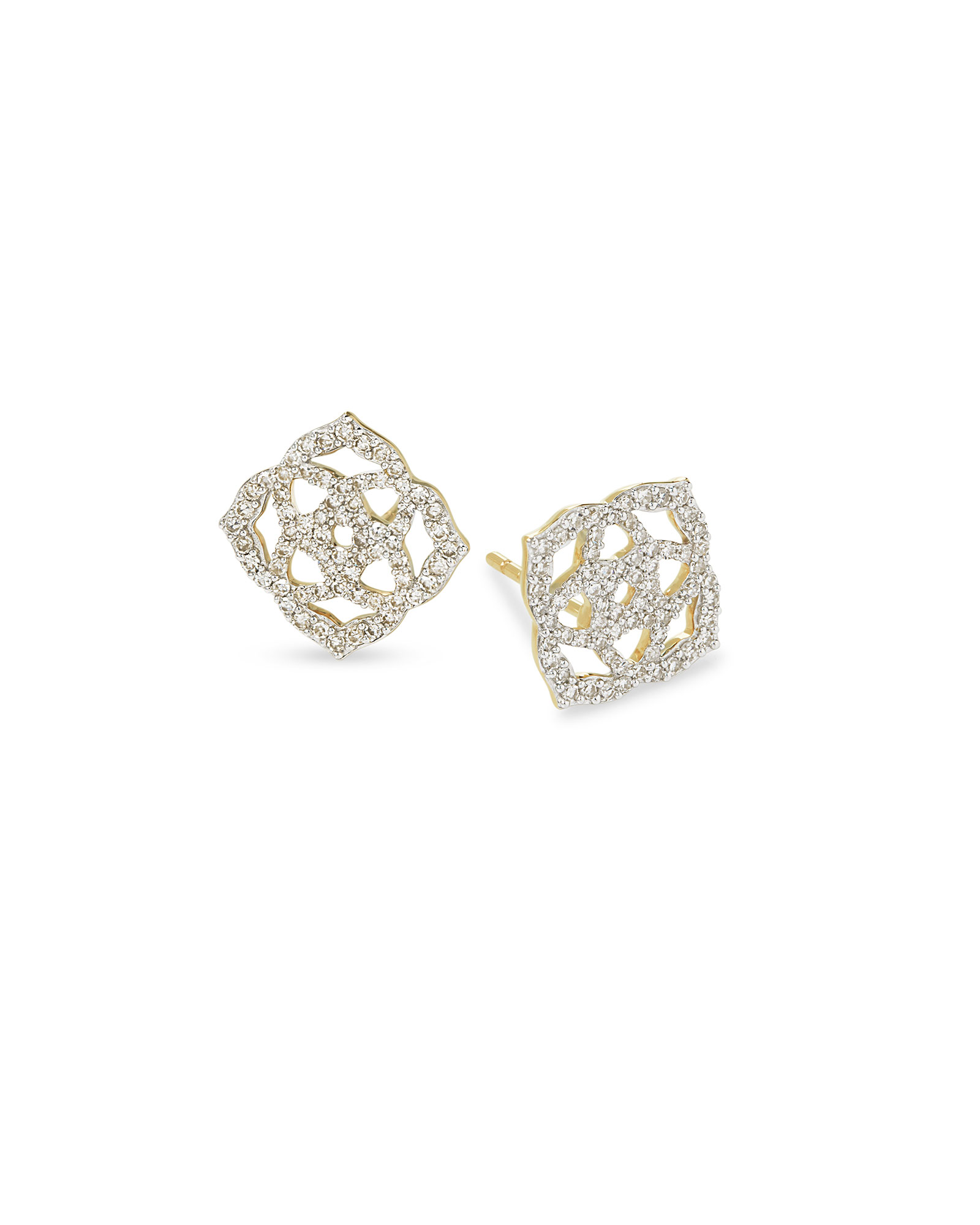 Fleur 14k Yellow Gold Pave Stud Earrings in White Diamond