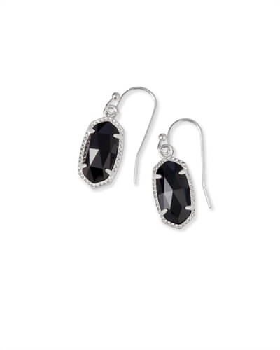 Lee Silver Drop Earrings in Black Opaque Glass