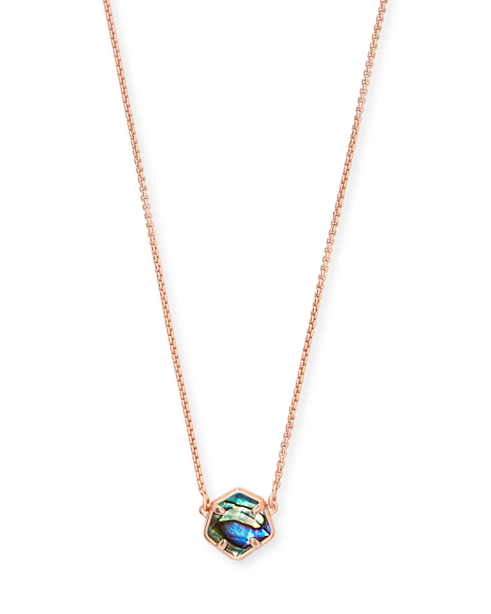 Jaxon Rose Gold Pendant Necklace in Abalone Shell