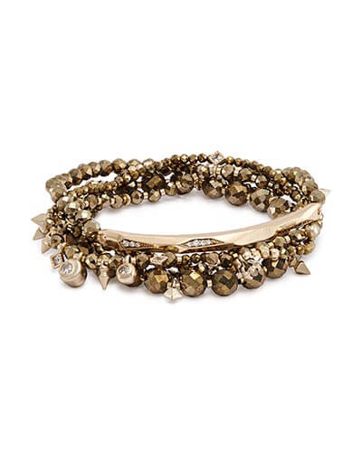 Supak Beaded Bracelet Set in Brown Pyrite