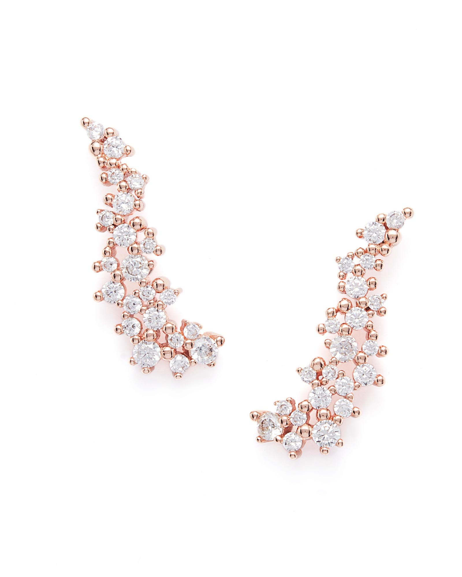 Petunia Ear Climbers in Rose Gold